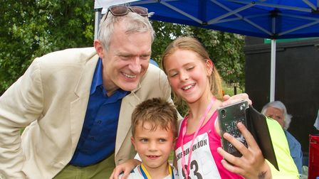 Sam and Matilda Bentall have a selfie with BBC Radio 2's Jeremy Vine at Tipton St Johns 50th anniver