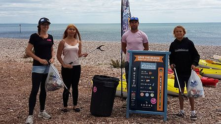 Jurassic Paddle Sports owner Guy Russell (first from right) with Abi Bennett, Jaime-Lee Burke and Ro