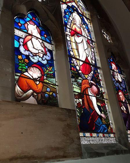The burglary entered Sidmouth Parish Church by breaking through this 150-year-old stained glass wind