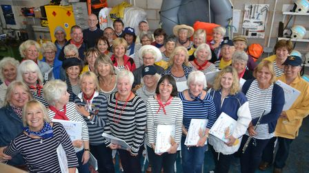 Sidbury Choir sang in the boathouse for Sidmouth Lifeboat