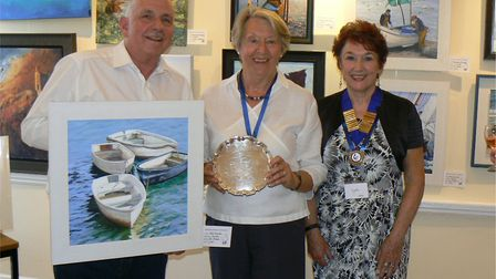 Peter Goodhall with Jill Booker and Lynda Kettle, the society's chairman.