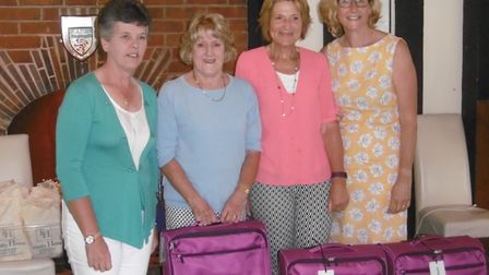 The Sidmouth Captain's Day winning team of Angela Coles, Mandy Furness and Penny Ashby together with