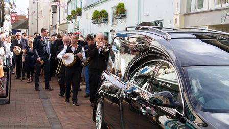"""Dave """" Mad Dog"""" Maddock`s Mardi Gras-style funeral. Ref shs 29 17TI 7790. Picture: Terry Ife"""