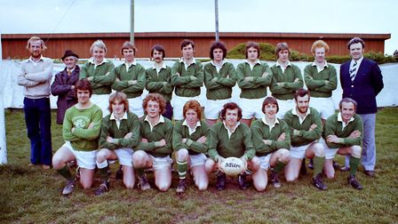 Sidmouth Rugby Club teams and action shots. Taken 30-4-1977. Ref shs Sid RFC teams Nost 1977-4. Pict