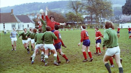 Sidmouth Rugby Club teams and action shots. Taken 30-4-1977. Ref shs Sid RFC teams Nost 1977-10. Pic