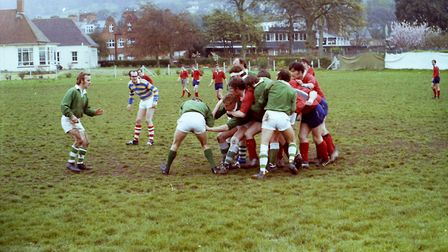 Sidmouth Rugby Club teams and action shots. Taken 30-4-1977. Ref shs Sid RFC teams Nost 1977-8. Pict