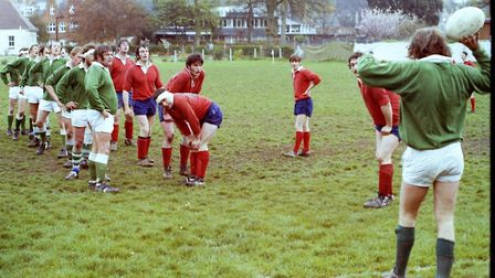 Sidmouth Rugby Club teams and action shots. Taken 30-4-1977. Ref shs Sid RFC teams Nost 1977-9. Pict