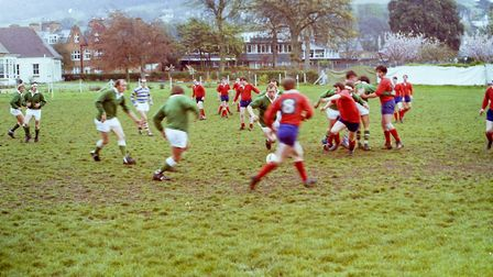 Sidmouth Rugby Club teams and action shots. Taken 30-4-1977. Ref shs Sid RFC teams Nost 1977-7. Pict