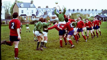 Sidmouth Rugby Club teams and action shots. Taken 30-4-1977. Ref shs Sid RFC teams Nost 1977-6. Pict