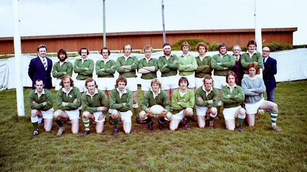 Sidmouth Rugby Club teams and action shots. Taken 30-4-1977. Ref shs Sid RFC teams Nost 1977-5. Pict