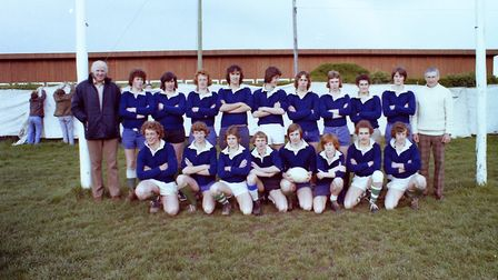 Sidmouth Rugby Club teams and action shots. Taken 30-4-1977. Ref shs Sid RFC teams Nost 1977-1. Pict