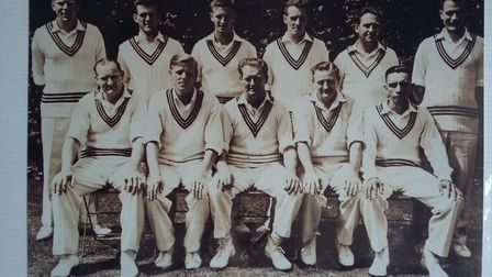 A picture of John Harris lining up for Somerset in the 1950s. John is third from the left in this sn