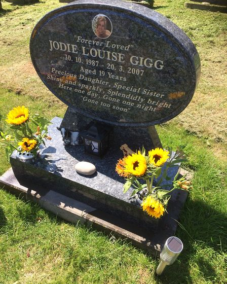 Sandra Gigg maintains her 19-year-old daughter Jodie's grave in Sidmouth Cemetery. Sidmouth Herald.