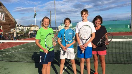 The runners-up Debbie Marriott and Jed Ionov-Flint together with the winners Taine Benson and Debbie