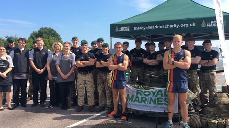 Royal Marines with staff at Sidmouth's Waitrose. Sidmouth Herald.