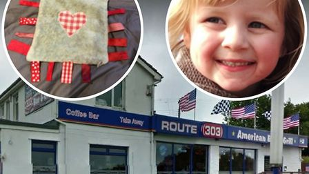 Youngster Florence Judge lost her beloved soft toy at Route 303 Diner in Honiton. Photo of Route 303