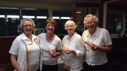 Sidmouth Bowls Club's winning team at the lady Captain's Day, Jill Bishop, Karen Hollingdale, Mary M