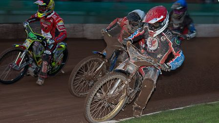 Somerset Rebels rider Richard Lawson in action during the defeat to Swindon Robins