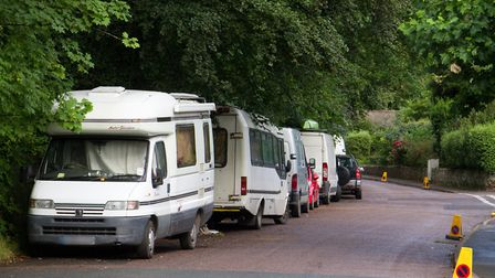 Camper vans parked in Bickwell Valley. Ref shs 32 17TI 9127. Picture: Terry Ife