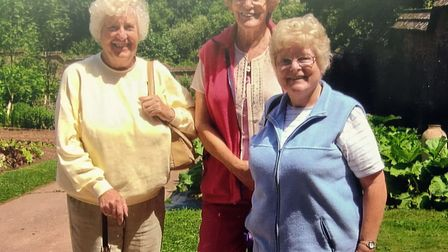 Bette Thomasson (left) and Janet Welsford (right) remember their friend Jeanne Selley (middle).