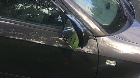 An Ottery resident snapped some of the damage caused to cars in the Land of Canaan car park last wee