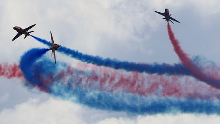 The Red Arrows in action over Lyme Regis
