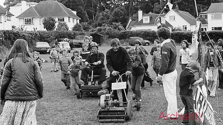 Lawnmower races at Sidmouth Rugby Club 15/7/78. Ref shs Lawnmower racing Nost 1978-1. Picture: Sidmo
