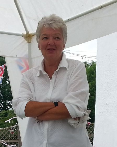 Lesley Woolley at her fundraising garden party for Harpford Hall