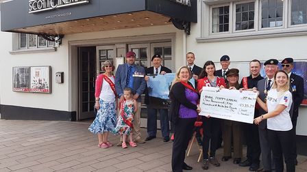 Sidmouth Royal British Legion volunteers with staff from the Radway cinema