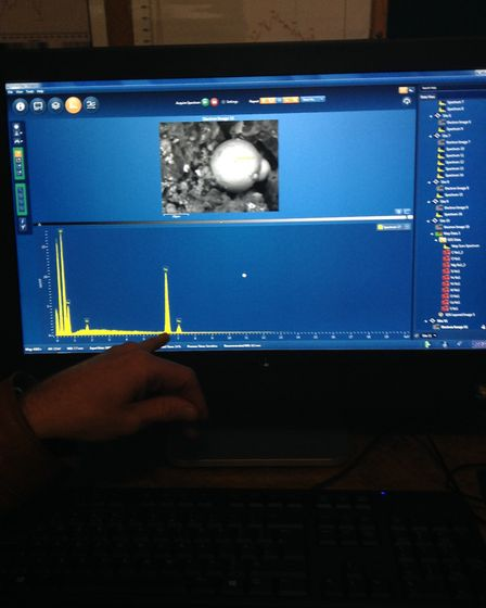 A micrometeorite discovered on the observatory roof. It was 30 microns in size, the width of a human