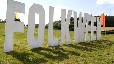 Sidmouth Folkweek sign. Picture by Alex Walton. Ref shs 0636-32-14AW. To order your copy of this pho