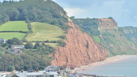 Cliff fall during FolkWeek at East beach, Sidmouth at 12.06pm on Saturday, August 5. Picture: Alex W
