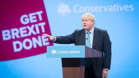 Prime Minister Boris Johnson delivers his speech during the Conservative Party Conference. Photograp