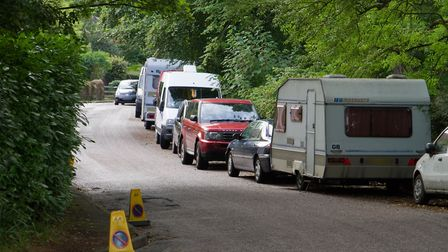 Camper vans parked in Bickwell Valley. Ref shs 32 17TI 9131. Picture: Terry Ife