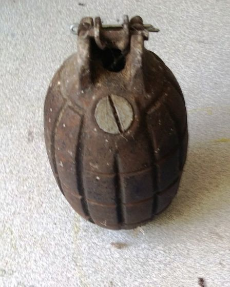 The No 5 Mills grenade found at a Sidmouth address during a clearout. Photo from Sidmouth Police.