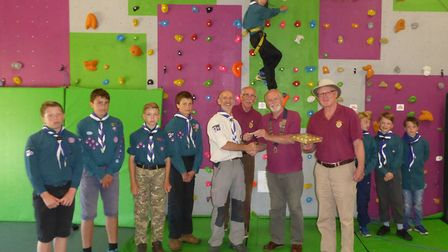 The Lions Club of Sidmouth presented a cheque of £200 to the 1st Sid Vale Scouts to purchase new cli