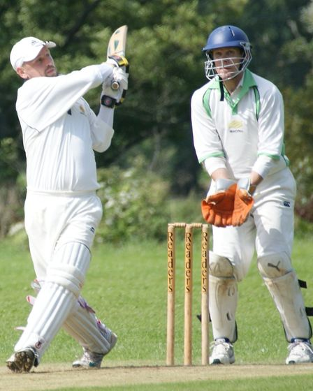 Tipton batsman David Thayre hits out during his innings against Met Office