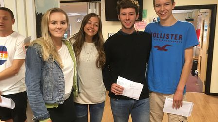 Melissa Johnson, Phoebe Michael, Sam Corthinhas and Matthew Derham all achieved great A Level result