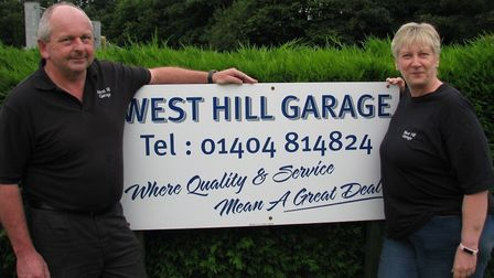 Gary and Debra Tennant owners of West Hill Garage, one of the sponsors of Ottery St Mary Bowls Club.