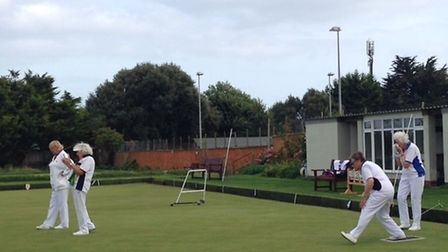 Action from the Sidmouth Bowls Club green