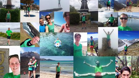 A montage of the different places that Sidmouth Running Club members took their 'Mighty Green' short