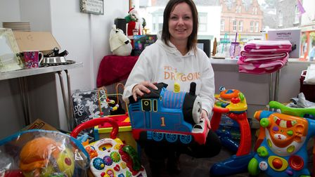 Alison Hill of Pete's Dragons in her pop up shop in Ottery. Ref sho 37 17TI 0464. Picture: Terry Ife