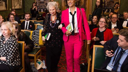 Joint winners Margaret Atwood and Bernardine Evaristo during 2019 Booker Prize Winner Announcement .