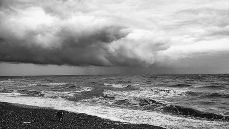 Storm clouds edging closer. Sidmouth beach. Picture: Ian Kimber