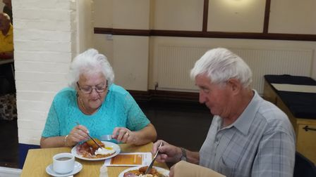 Supporters of the big breakfast for Force Cancer Charity at Sidford Social Hall