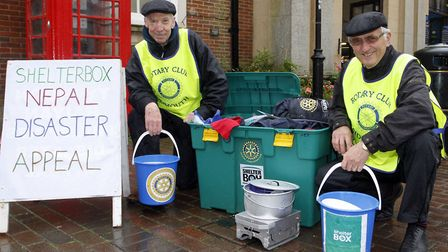 Paul Whitehouse and Barry Chapman of Rotary club of Sidmouth collecting for shelterbox Nepal disaste
