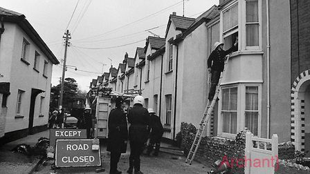 Fire on Mill Street -13/5/78. Ref shs Fire on Mill Street Nost 1978-4. Picture: Sidmouth Herald arch