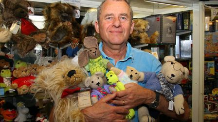 John Wycherley of Sidmouth Gifts is looking for bear donations for Prostate Cancer UK. Ref shs 7474-