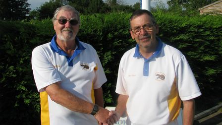 Ottery St Mary men's pair champions for 2017 Men's Pairs Champions - Terry House and Chris Hawke