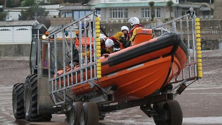 Crews from Sidmouth Lifeboat.